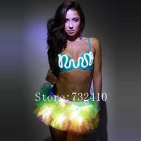 LED fluorescent corset luminous skirt suit  luminous bikini light up lingerie costumes for bar performance