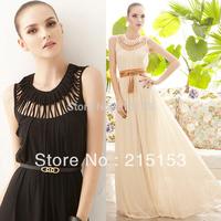 2014 Evening Elegant Women's Dress Longe Fashion Design Slim Long Chiffon New Year's Dresses Zipper Style