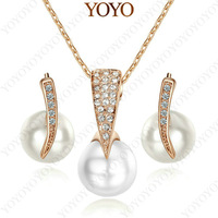 New Arrival,Pearl Jewelry 18K rose Gold Plated Rhinestone Pendant Necklace Earring Set S275R1