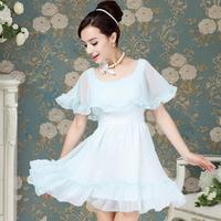 2013 summer sweet blue chiffon cape  for women's dress
