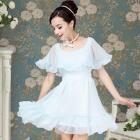 10109 2013 summer sweet blue chiffon cape skirt for women's dress