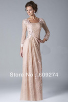 Elegant 2014 Sexy Mother Of The Bride Dresses With long Sleeevs Square Pink Lace Pleats Mother Bridal Dress Outfits Groom Gowns