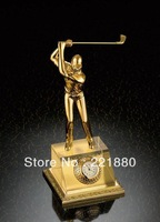 Free Shipping Delicate High-class Golf Gift Handicrafts with Alloy Golf Ball Clock