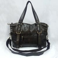 Vintage Genuine Full Grain Leather Cowhide Oil Wax Leather Men Handbag Handbags Messenger Bag Shoulder Bag Bags For Men B321