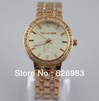 NEW STYLE lady rose gold diamond band wristwatches Quart watch round stainless steel fashion for women men luxury brand watch