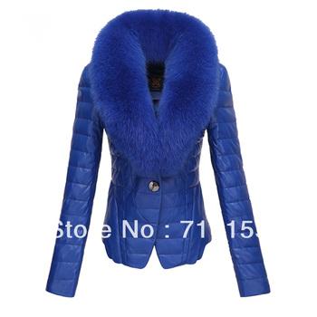 Large fur collar down jacket cotton-padded slim short leather design fashion down jacket cotton-padded