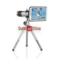 Wholesale 5pcs x 12X Zoom Optical Telescope Lens Tripod + Case For Samsung Galaxy Note II 2 N7100
