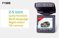 Factory price ! F198B Car DVR with 1080P HDMI 25FPS night vision 5MP Camera G-Sensor CMOS + Fedex/DHL Free shipping