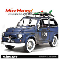 Metal classic cars antique model cars blue fiat handmade iron toys