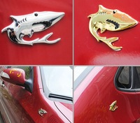 Promotion 3-D Mental Shark Sticker For Car Golden And Silvery Color