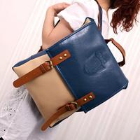 2013 women's handbag preppy style strap decoration badge color block backpack student school bag