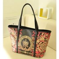 2013 women's handbag autumn and winter fashion vintage flower print color block one shoulder big bag shopping bag