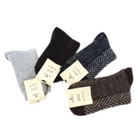 1pair Mens Solid Wool Blend Warm Sports Plaids Absorbent Ankle Socks