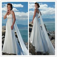 Cheap ! Free Shipping Halter Beading Chiffon White / Ivory Beach Wedding Dresses # 1129