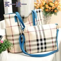 2013 women's handbag bag autumn and winter fashion shopping bag check plaid shoulder bag buns bag