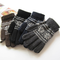 Free shipping wholesale Fashion Womens Men's Winter Warm Wool Snowflake Knitted Gloves