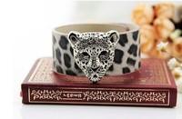 Fashion Jewelry Vintage Silver Leopard Head Leopard Spots Pattern PU Leather Charm Width Bracelet DIY Free Shipping 10pcs  Z1755