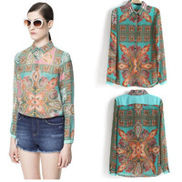 Drop shipping women chiffon blouse flower printed blusas shirt dudalina women clothing long sleeve totem vintage blouse camisa