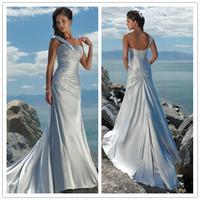 New Free Shipping One Shoulder Satin Beading Sheath Applique White / Ivory Beach Wedding Dresses # 1130