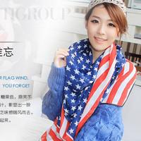 2pcs/Lot Popular Unique USA Flag Scarf Women's Fashion Chiffon Long Scarf  High Quality Free Shipping