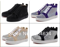 HOT Men sports Casual shoes real leather Rhinestone high top Sneakers,Red bottom shoes