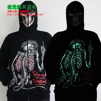 Male luminous zipper hoodie individuality sweatshirt novelty skull punk