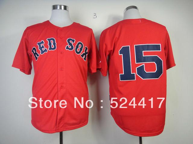 free shipping Men's Baseball Jersey Boston Red Sox 15 Dustin Pedroia grey /blue/red baseball jersey/shirt(China (Mainland))