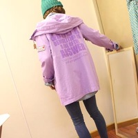 Letter print badge drawstring trench sisters equipment casual clothes thin outerwear female