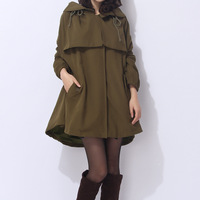 Women's trench medium-long 2013 spring and autumn loose outerwear outdoor tooling 100% cotton casual clothing