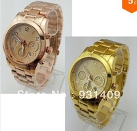 New Arrival Quartz Watch Gold/Rose Gold Round Stainless Steel Wristwatch with Calendar for Men / Women+logo Free Shipping #35343