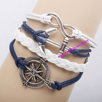 QNW8023 hot selling fashion handmade leather bracelets high quality lowest price Infinity antique charms wristband 12pcs/lot