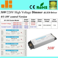Free Shipping Top selling 50W 220V 0-10V dimmer, 0/1-10V signal LED driver, 1CH Dimmable driver DM9129H-V series