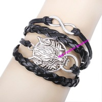 QNW8026 free shipping fashion handmade leather bracelets high quality lowest price Infinity antique charms wristband 12pcs/lot