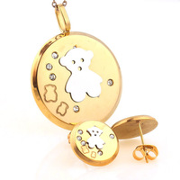 Fashion Womens Lady Girls Children Gift 18K Gold Plated Stainless Steel Pendant Necklace & Earrings Bear Jewelry Sets Wholesale