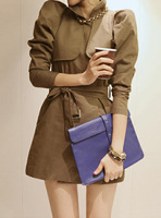 Elegant fashion puff sleeve slim trench