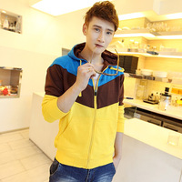Jeanswest modeling 2013 autumn sweatshirt male casual SEMIR color block decoration with a hood sweatshirt outerwear