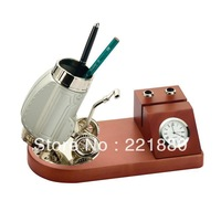 Free Shipping!Delicate Golf Gift 2013 New Design Handicrafts With Quartz Watch and Pen Holder