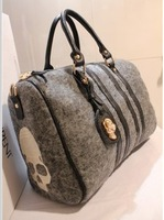 2013 winter bag fashion vintage handbag unisex artificial wool woolen embroidery skull handbag  high quality  free shipping