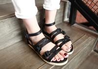 sapatos Sandalias sapatos femininos Big hasp all-match hemp rope flat sandals simple Femininas Rasteirinha Rasteira Chatitas