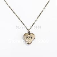 2013 New Antique Vintage Bronze Pocket Watch for Women Men Children Alloy Love Pendant Chain Necklace