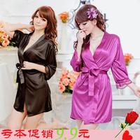 Sexy faux silk sleepwear Sexy Women Lady Lingerie Temptation Babydoll Nightdress Lace Nightgown Sleepwear with Robes