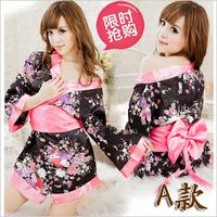 Women's autumn sexy robe sexy sleepwear ultra-thin plus size kimono-style robe