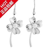 Silver earrings in ear hook 925 pure silver - four leaf grass earring female long design gift