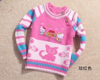 4pcs/lot 2013 Kids Clothing Girls Pullover Sweaters Cartoon Hello Kitty Design 4 Colors for 1-4 years