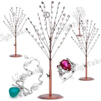 Fashion Metal Tree Style Earring Jewelry Display Shelf Stand Rack for Bracelet Necklace Display - Bronze