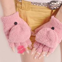 2pairs/Lot Girls Winter Warmer Multifunctional Semi-Finger Gloves Warmer Coral Fleece Sweet Keyboard Gloves 17*11CM Free Ship