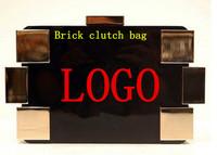 EMS 2013 designer brand Jelly candy bag crystal transparent neon color shoulder bag women Brick clutch bag handbag gold