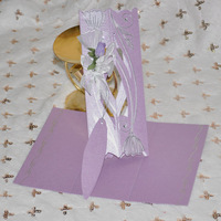 Purple scroll  wedding invitation cards with Sliver Ribbon wedding favor