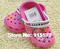 Hot 2014 Kids Girls Summer EVA Slippers summer beach garden Hello Kitty hole slippers sandals size 8-11.5