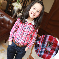 Girls clothing fashion plaid long-sleeve shirt plaid shirt basic shirt child